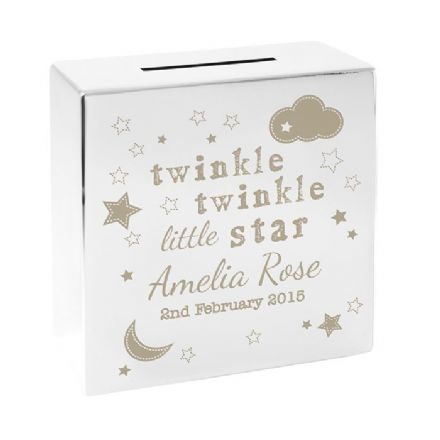 Personalised Twinkle Twinkle Little Star Square Money Box